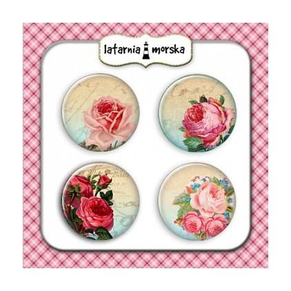 Ozdoby samoprzylepne, buttony - Róże Vintage 1