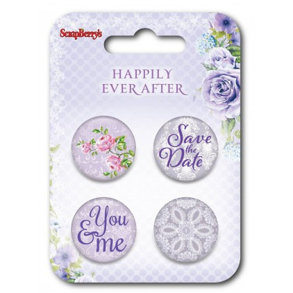 ScrapBerry's - Selfadhesive buttons/badge - Happily Ever After 3