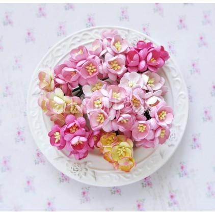 Zestaw papierowych kwiatów wiśni - miks różowy - 50 sztuki