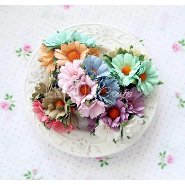 Daisy flower set - pastel mix - 25 pcs