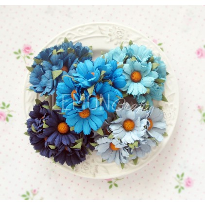 Daisy flower set - mix of blue - 25 pcs