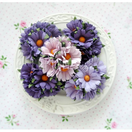 Daisy flower set - mix of purple - 25 pcs