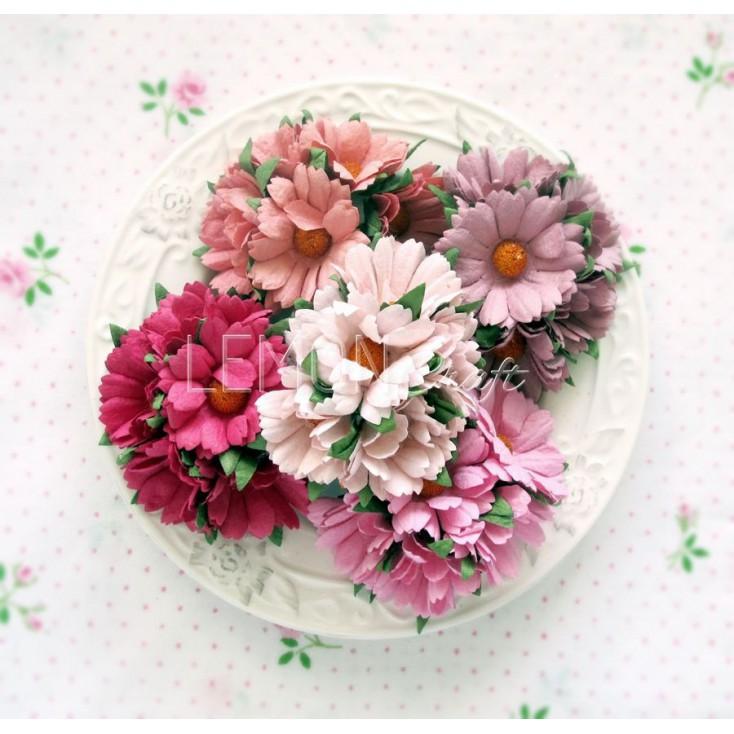 Zestaw papierowych margaretek - miks różowy - 25 sztuki