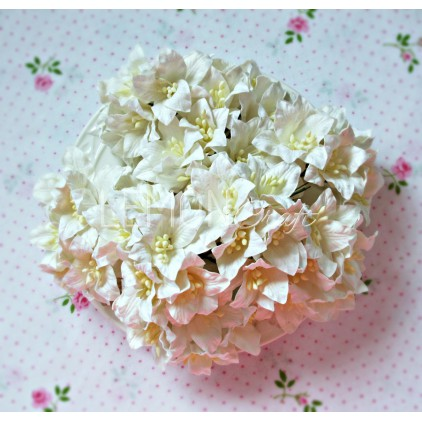 Paper lily flower set - white - 50 pcs