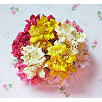 Paper lily flower set - mix 2 - 50 pcs