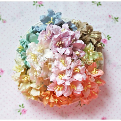 Paper lily flower set - mix 3- 50 pcs