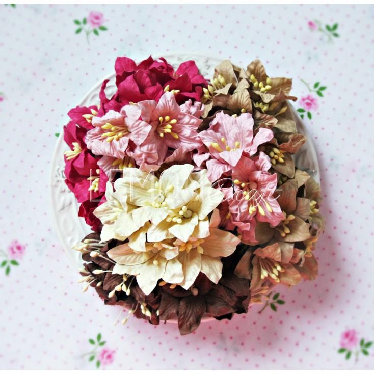 Zestaw papierowych lilii - miks 4 - 50 sztuk