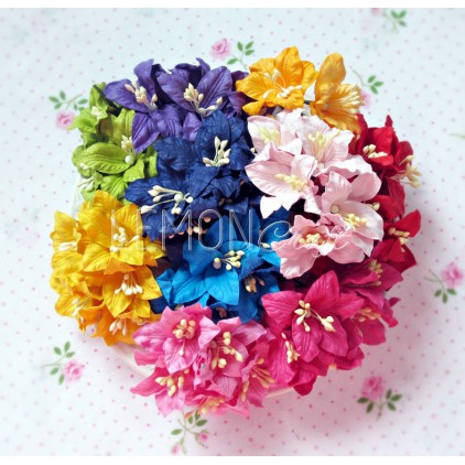 Paper lily flower set - mix 15 - 50 pcs