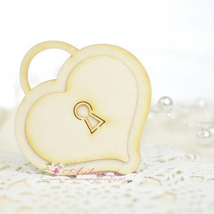 Miszmasz Papierowy - Cardboard element - Heart padlock