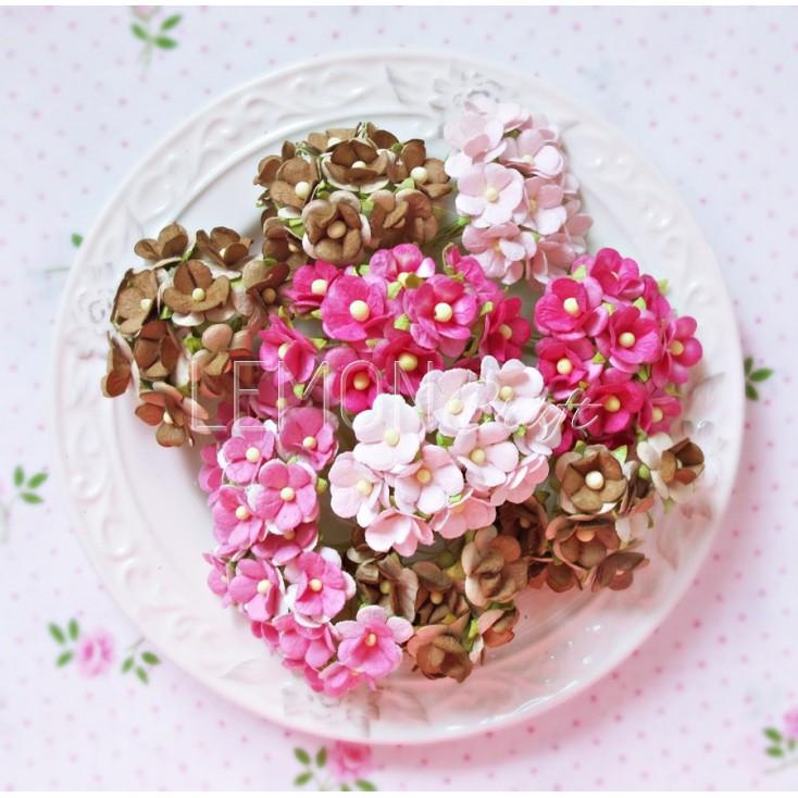 Zestaw papierowych kwiatuszków - Sweetheart mix 7 - 100 sztuk