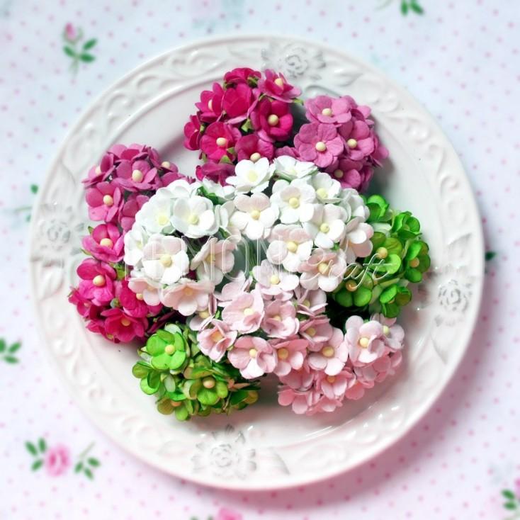 Zestaw papierowych kwiatuszków - Sweetheart mix 9 - 100 sztuk
