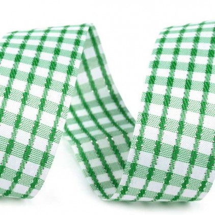 Checkered ribbon with decorative silver thread - 1 meter - green