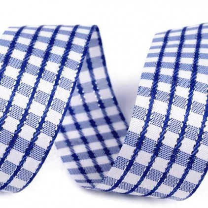Checkered ribbon with decorative silver thread - 1 meter - navy blue