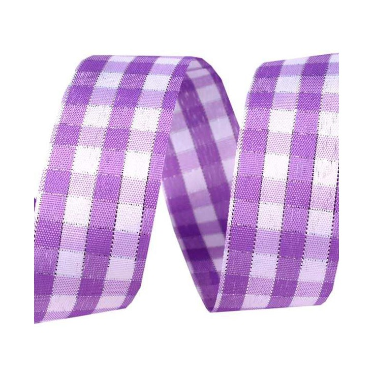 Checkered ribbon with decorative silver thread - 1 meter - violet