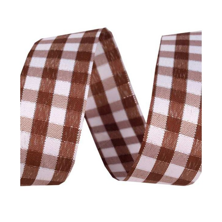 Checkered ribbon with decorative silver thread - 1 meter - brown