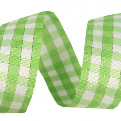Checkered ribbon with decorative silver thread - 1 meter - light green