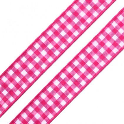 Wstążka w kratkę - 1 metr - różowa
