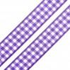 Wstążka w kratkę - 1 metr - jasnofioletowa