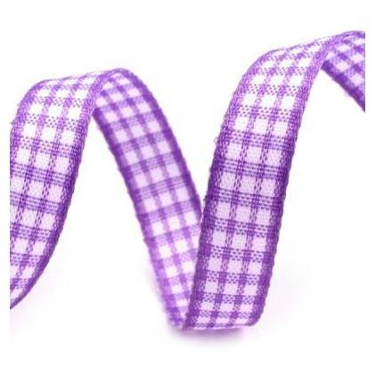 Wstążka w drobną kratkę - 1 metr - fioletowa