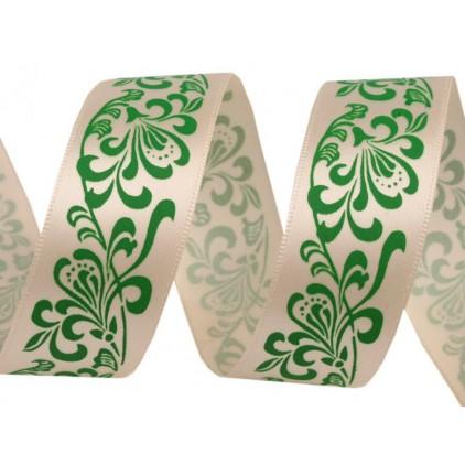 Ałasowa wstążka - 1 metr - z zielonym ornamentem