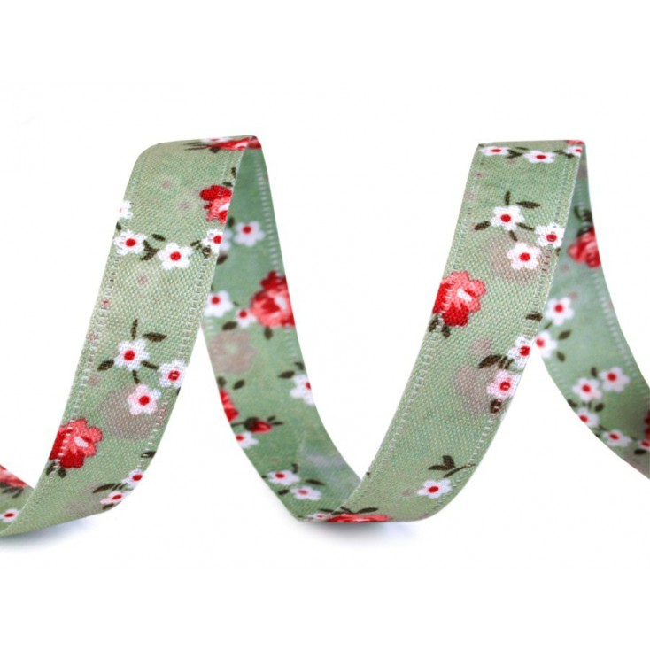 Double sided ribbon with roses - 1 meter - green