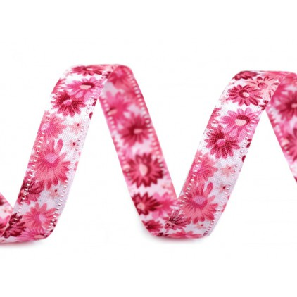 Double sided ribbon with flowers - 1 meter - 1