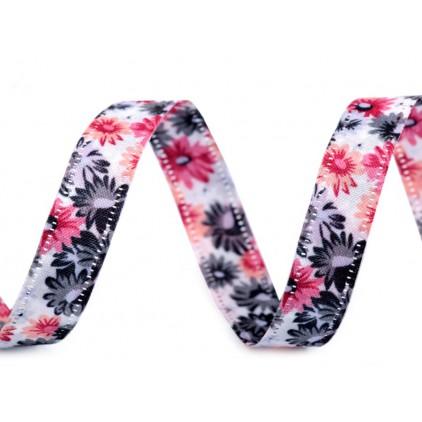 Wstążka dwustronna w kwiaty - 1 metr - 3