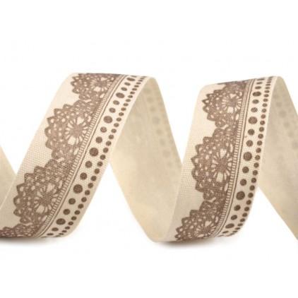 Printed cotton ribbon - 1 meter - lace