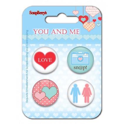 Ozdoby samoprzylepne, buttony - You and Me