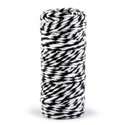 Decorative Cotton Cord Ø1.5 mm - black-white