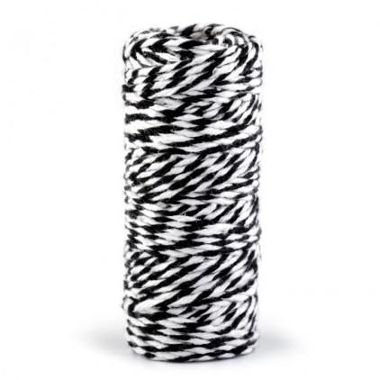 Sznurek ozdobny - Ø1,5 mm - czarno-biały