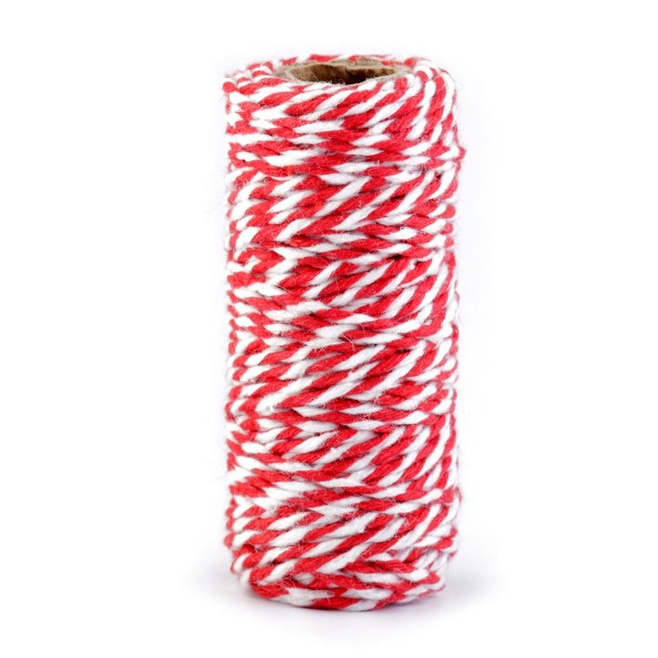 Decorative Cotton Cord Ø1.5 mm - red-white