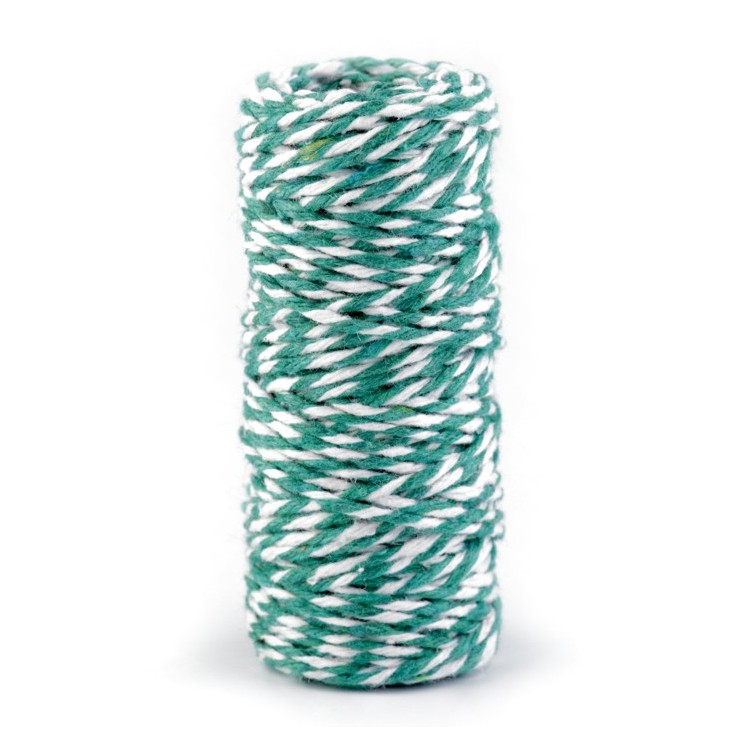 Decorative Cotton Cord Ø1.5 mm - green-white