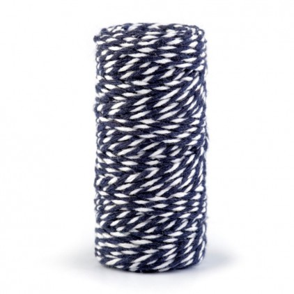 Decorative Cotton Cord Ø1.5 mm - denim-white