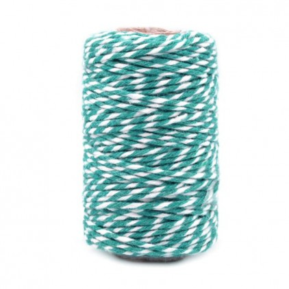 Decorative Cotton Cord Ø1.5 mm - turquoise-white