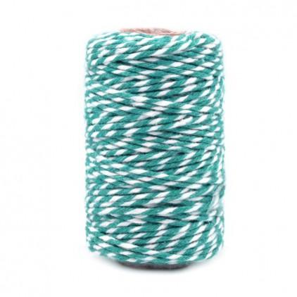 Decorative Cotton Cord Ø1.5 mm - turquoise-white