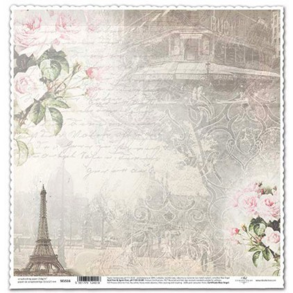 Papier vintage wieża Eiffla do scrapbookingu - ITD Collection SCL516