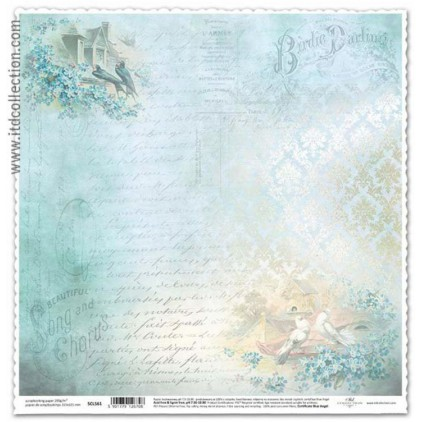 Papier vintage niezapominajki do scrapbookingu ITD Collection SCL561