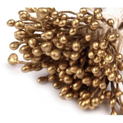 Pręciki do kwiatków - złote - pęczek