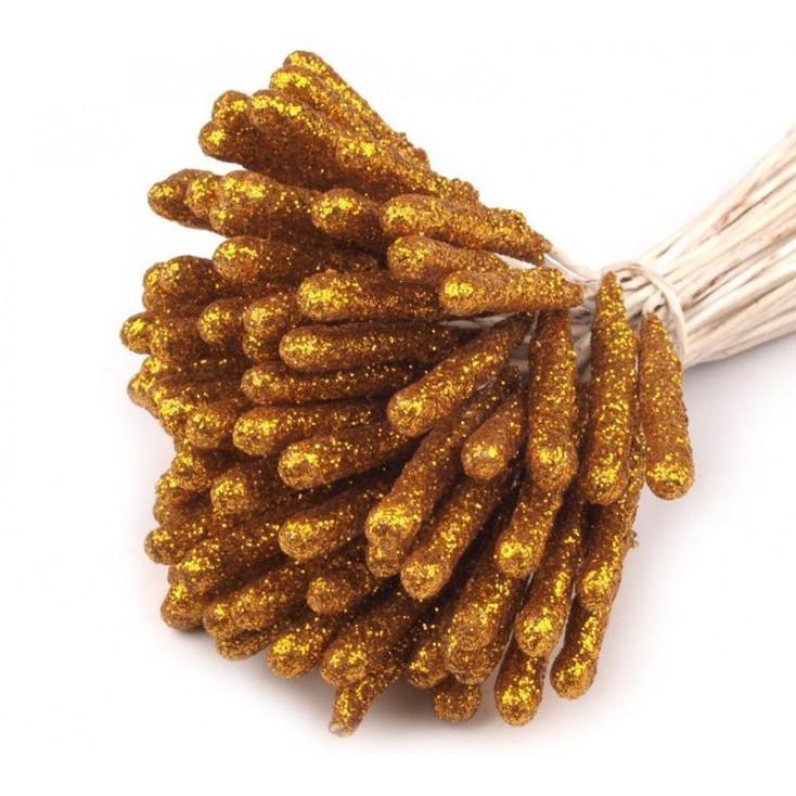 Pręciki do kwiatków z brokatem - złote - pęczek