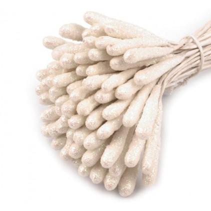 Pręciki do kwiatków z brokatem - biało-beżowe - pęczek