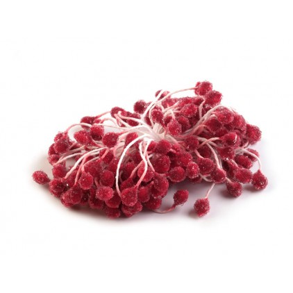 Frosted Flower Stamen - carmine - one bunch