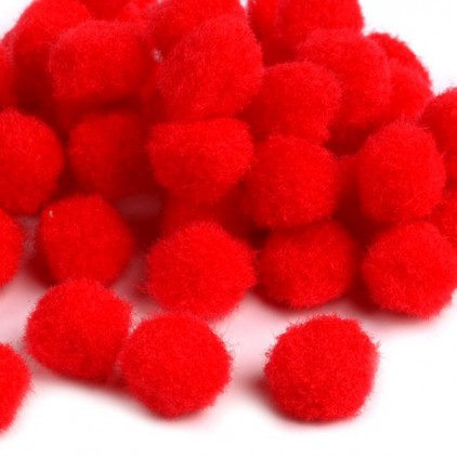 Set of 50 soft and fluffy pompoms - red