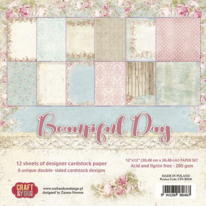 Craft and You Design - Set of scrapbooking papers - Beautiful Day