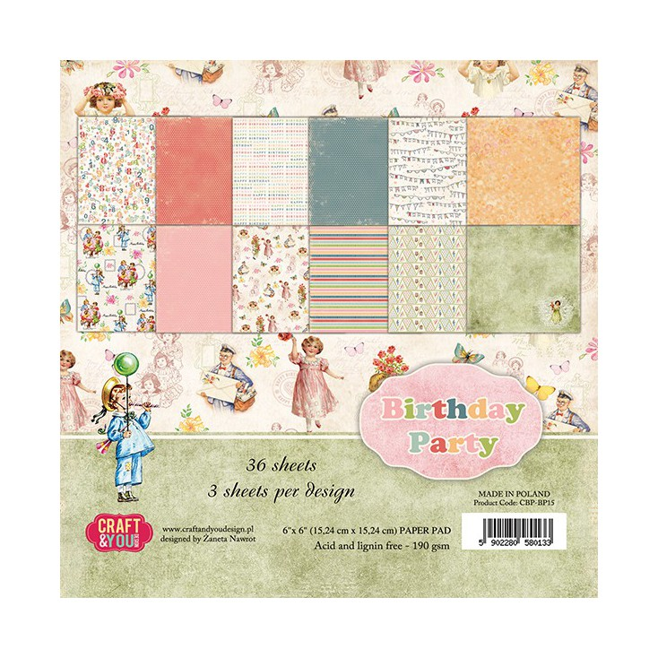 Craft and You Design - Set of scrapbooking papers - Birthday Party