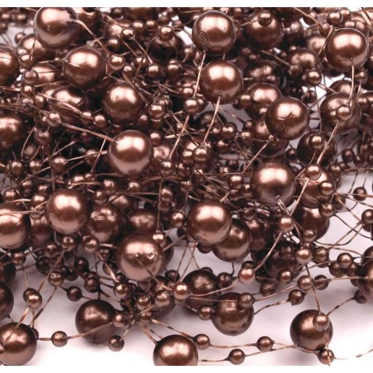 Perełki na żyłce silikonowej Ø7mm długość 130cm - ciemnobrązowe