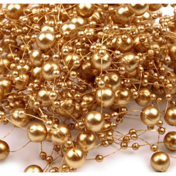 Beaded Garland Ø7mm length 130cm - gold