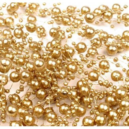 Perełki na żyłce silikonowej Ø7mm długość 130cm - jasnozłote