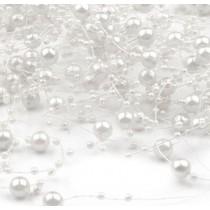 Perełki na żyłce silikonowej Ø7mm długość 130cm - białe