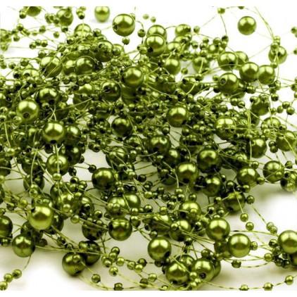 Perełki na żyłce silikonowej Ø7mm długość 130cm - oliwkowe